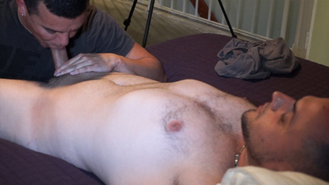 Sexy married latin get first blow job from a dude